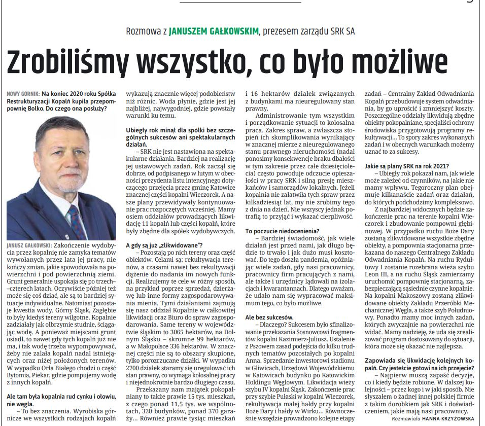 rozmowa z prezesem J. Gałkowskim - Nowy Górnik 3/2021